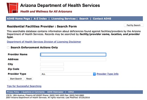 Search Form Arizona