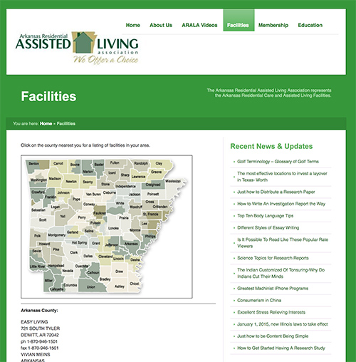 Arkansas County Map from Assisted Living Association